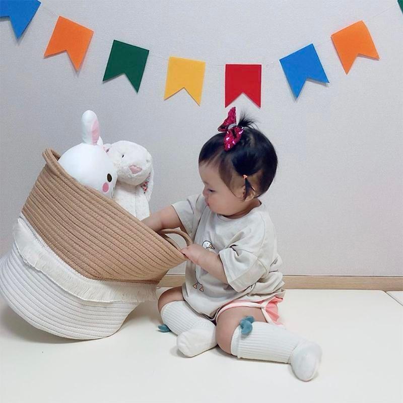 Jute Laundry Basket Cotton Organizer Chic Woven Storage Basket Wasmand Baby Stuff Toy Organization Nordic Baby Room Home Decor T200602