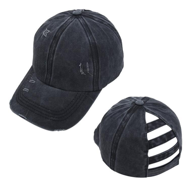 -Cavalo boné Washed Torn Baseball Caps de algodão Unisex Visor Cap Hat Outdoor Sports Shading snapbacks respirável chapéus de festa LJJA1352