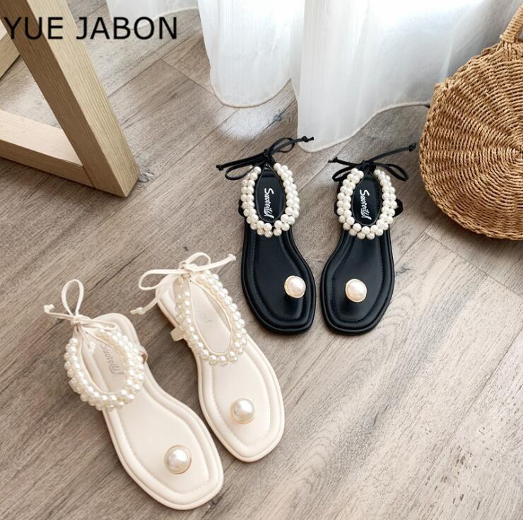 Voltear negro blanco perla Zapatos flop mujeres planas del dedo del pie cuadrado de la correa del tobillo sandalias Mujer Zapatilla ata para arriba el verano de la playa sandalias de la mujer