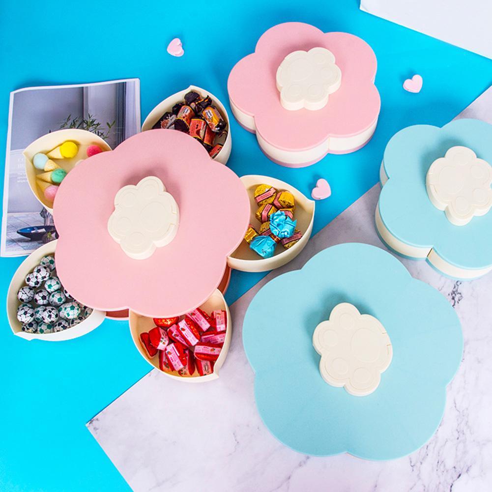 Doble capa de la sala Placa de la fruta forma de la flor de dibujos animados organizador de escritorio giratorios Nueces del envase la caja del caramelo del pétalo