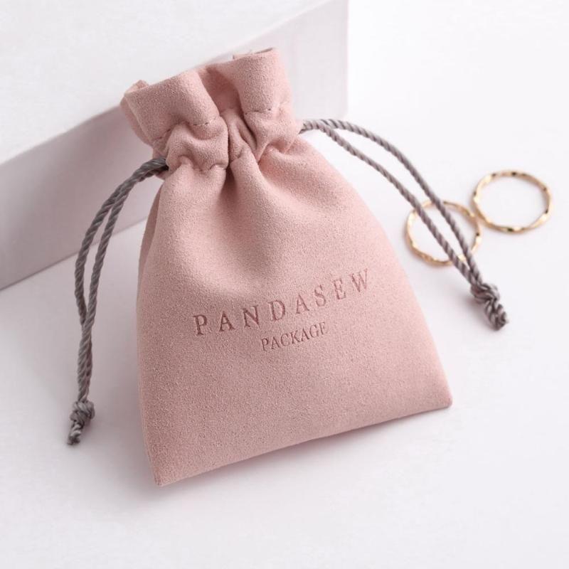 100шт пользовательские ювелирные изделия логотип печати мешочков персонализированные упаковки малого бизнеса шнурок микроволокна кольца серьги подарочные пакеты