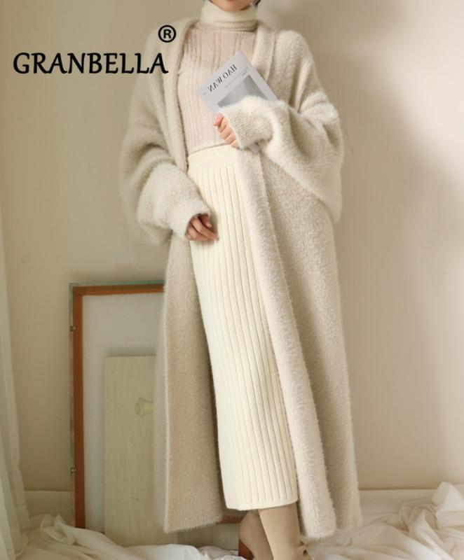 malha de inverno sweater casaco cardigan falso vison veludo das mulheres soltas longo outwear mais femme puxar tamanho
