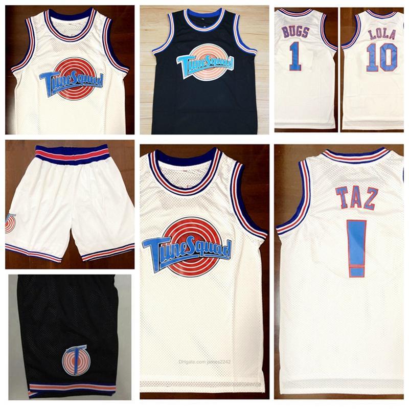 Envío de nosotros #Top película Space Jam Tune escuadra Jersey! Taz 1 Bugs Bunny 10 Lola 23 jerseys del baloncesto cosido S-3XL de alta calidad