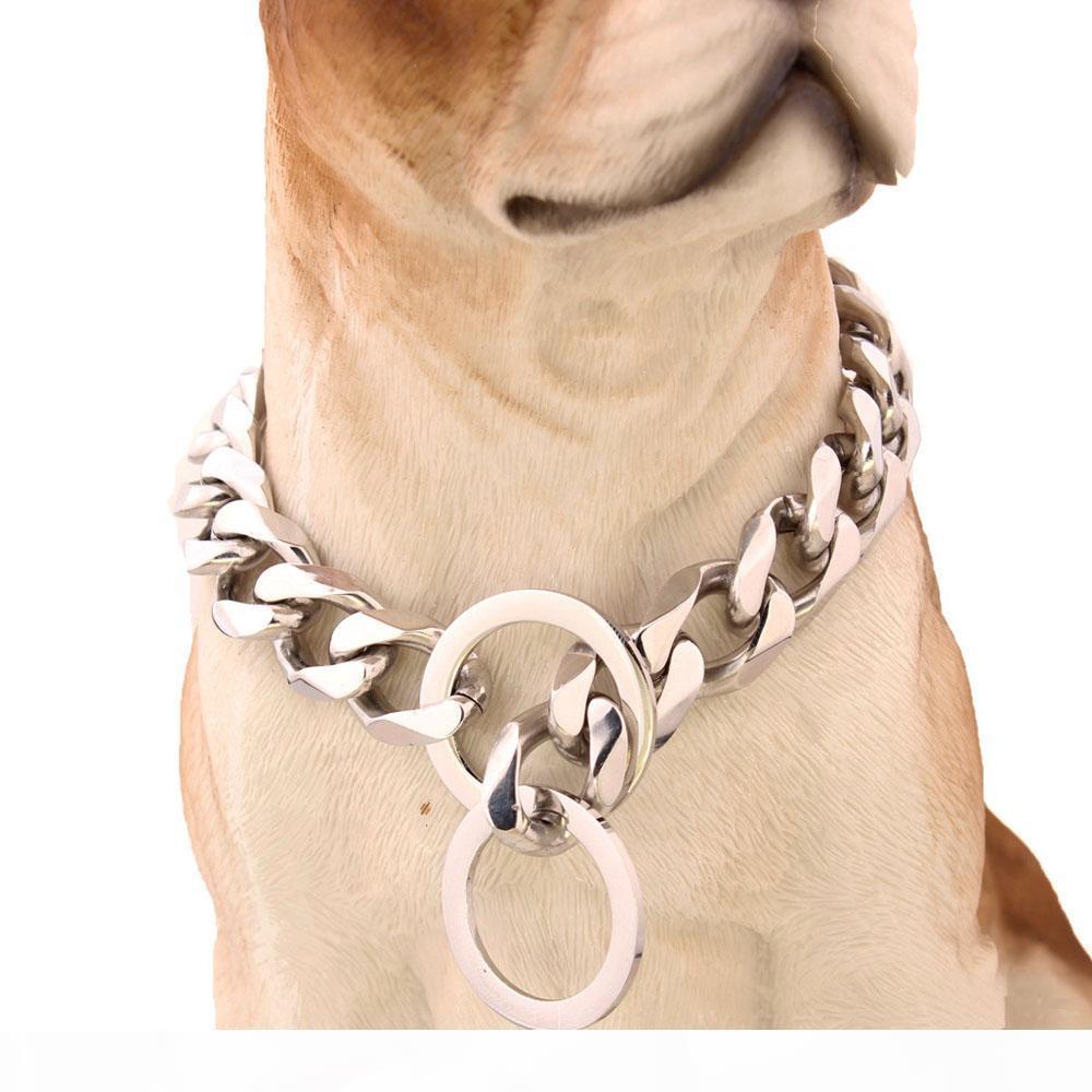 Qualité supérieure 19mm 12 ~ 34 pouces ton argent Double Curb Cuban Pet Dog chaîne en acier inoxydable Collier gros lien Pet Colliers