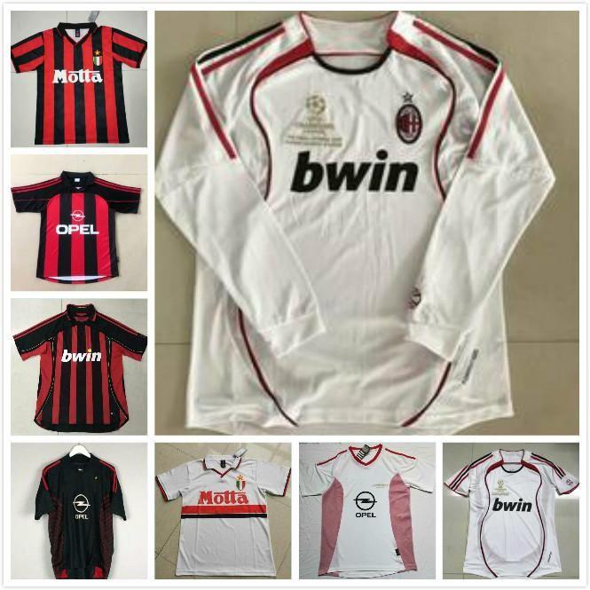 06 07 Jersey de football rétro Kaka Gilardino Inzaghi Retro Camiseta 2006 2007 Jersey de football à manches longues classique Vintage