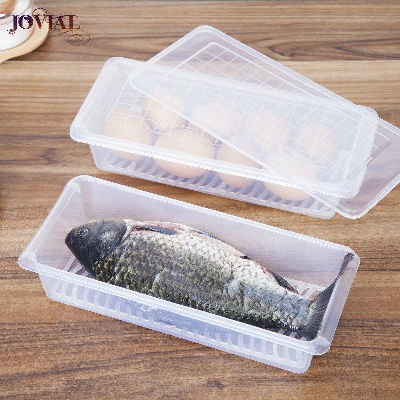 Caixa de armazenamento PP fresco Mantendo a umidade prova Cozinha Refrigerador Contentor de drenagem Pad Organizador plástico reutilizável Sl4C #