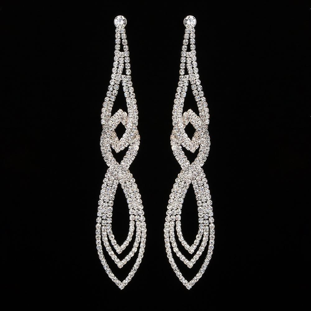 Classic Crystal Long Dangle Earrings Women Wedding Elegant Party Accessories Drop Earrings Jewelry