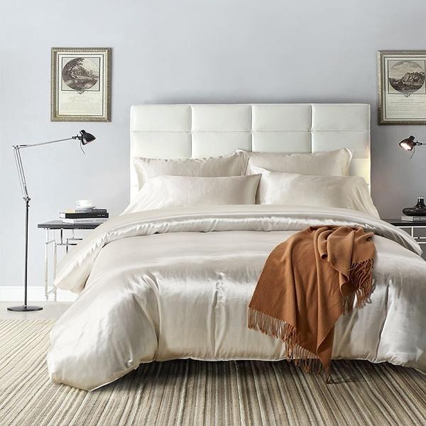 Insiemi dell'assestamento Formato degli Stati Uniti seta 3pcs Bedcloth copriletto Copripiumino Estate fredda del lenzuolo della camera da letto Tessuti per la casa (7 colori)