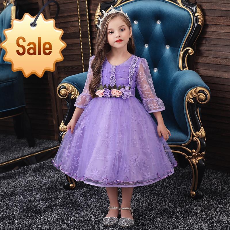 Prinzessin Kinderkleider Mädchen verursachende Abnutzung Kleid 3 8 Jahre Mädchen Vestido Robe Fille Sommer-Spitze-Kinder Kleidung New 2020