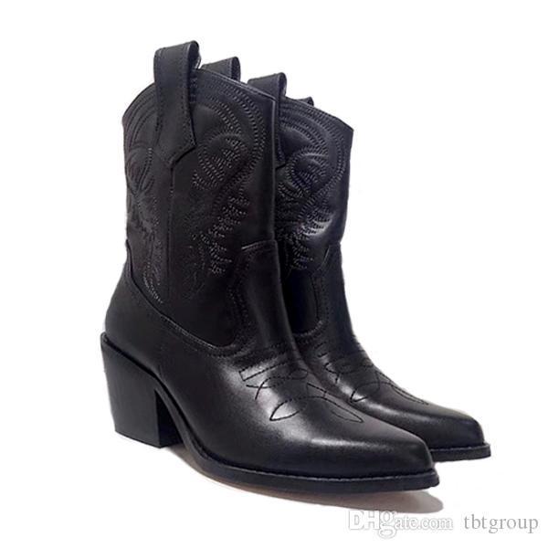 Le donne di lusso di marca scarpe occidentale del cowboy Stivaletti inverno di modo lucido Stivaletto in pelle ricamo di buona qualità