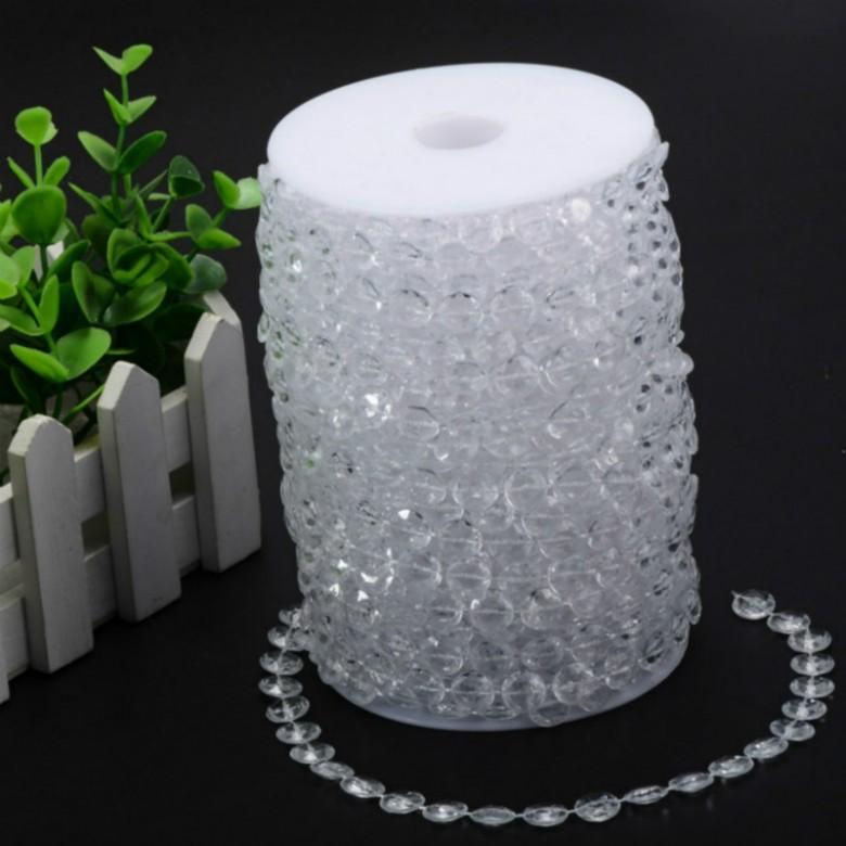 99 Feet/30Meters Clear Garland Diamond Strand Hanging Crystal Acrylic Bead Curtain Chains Party Tree Wedding Centerpiece Decor