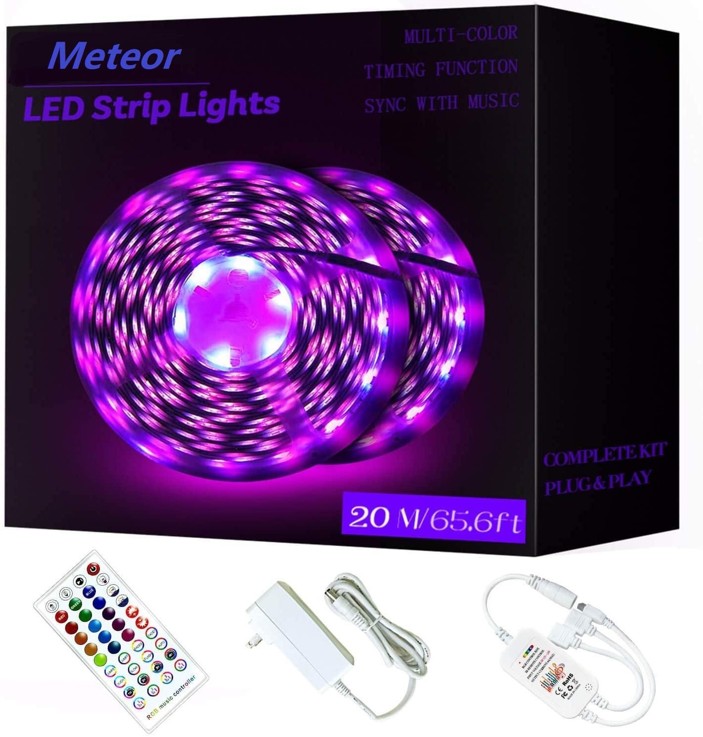 65.6FT / 20 M RGB LED Şerit Işıkları Ultra-Uzun Renk Değiştirme Işık Şerit Ile Uzaktan 600 LEDS Parlak LED Işıklar DIY Renk Seçenekleri Bant Işıkları