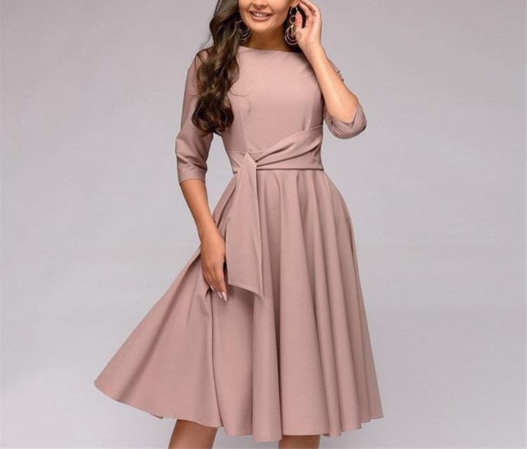 2020 donne vestito da autunno midi o-collo vestito dall'oscillazione 1/2 manica con cintura sukienka cadono i vestiti per le donne Lady abiti vêtements femme