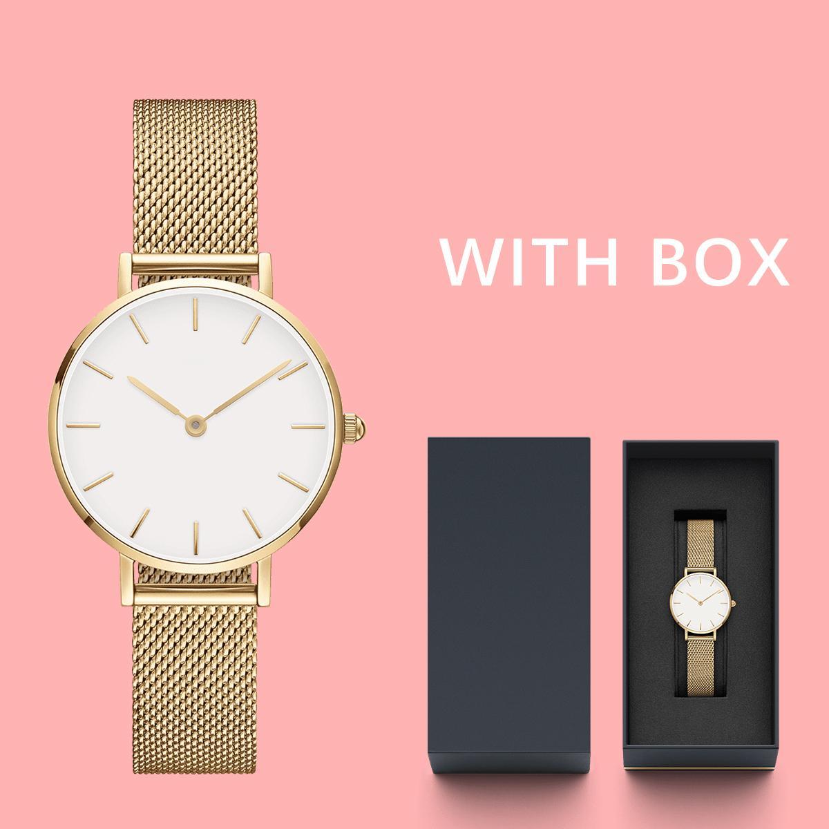 2020 superior aumentó Reloj Reloj de oro y mujeres señoras de la pulsera par de acero inoxidable resistente al agua brazalete de la moda 32mm36mm40mm Montede oro
