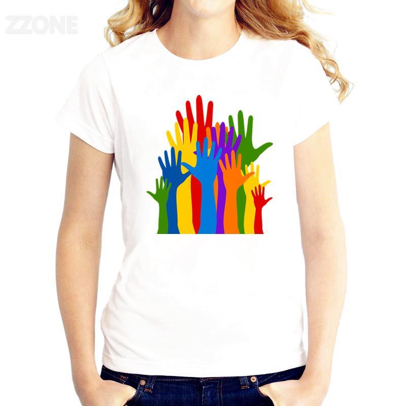 LGBT Renkli El tişört Kadın Baskılı İyi Kalite Tshirt Kısa Kollu T-shirt O-Boyun Moda Tee Gömlek Tops