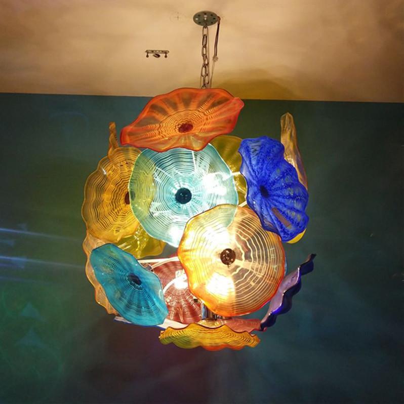 """لوحات الأوروبي زجاج مورانو قلادة الخفيفة آرت ديكو الحديثة الثريا الكريستال الإضاءة متعدد الألوان 32 """"الثريا 100٪ الفم في مهب Lamparas"""