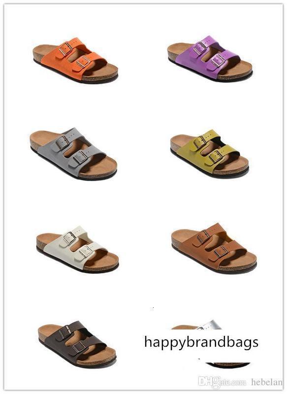 Haute Qualité Marque Arizona Birk cuir véritable pour les hommes femmes sandales en gros appartements Cork plage d'été décontracté avec des pantoufles boucle