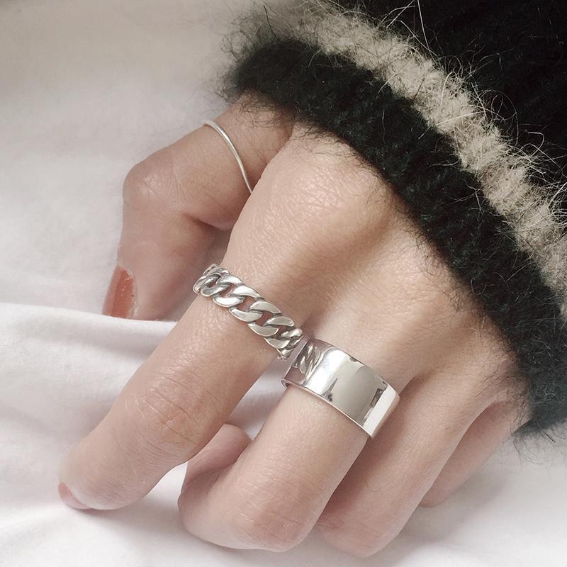 CHOZON 925 plata esterlina amplio conjunto de anillo de cadena de plata de la vendimia anillos abiertos de la cadena cuadrada tira silvestres para las mujeres nuevo regalo de joyería fina