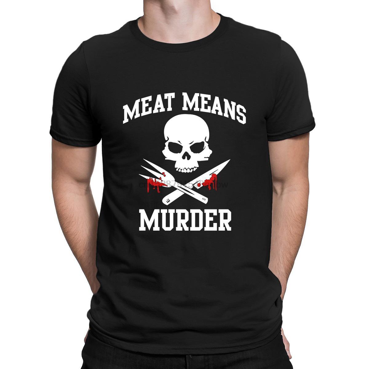 Carne Mezzi Murder T Shirt Basic Sunlight Stampa Lettere girocollo di base della camicia della molla di cotone Solid