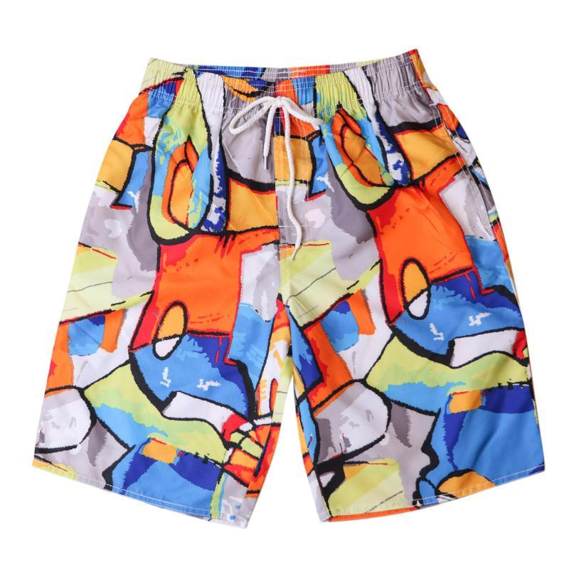 Summer Men Beach Pants Straight Cartoon Printi Swim Trunks Quick Dry Beach Surfing Running Swimming Watershort Plus Size L513