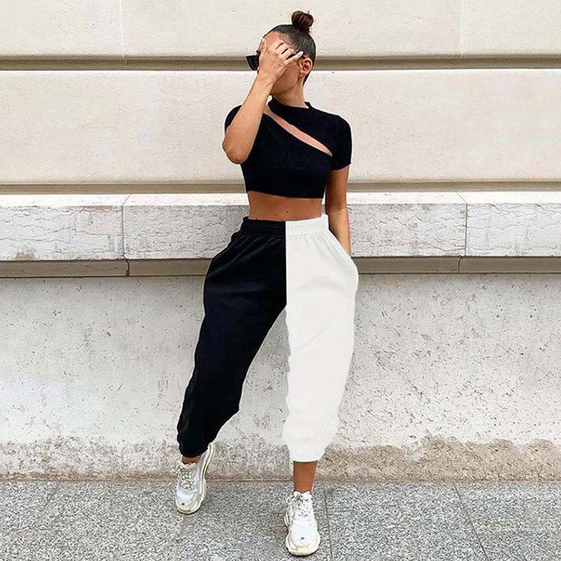 2020 Half Black Half White Pants Women Sweat Baggy Pants Women Joggers Pants Summer High Waist Sweatpants For Women Streetwear T200714