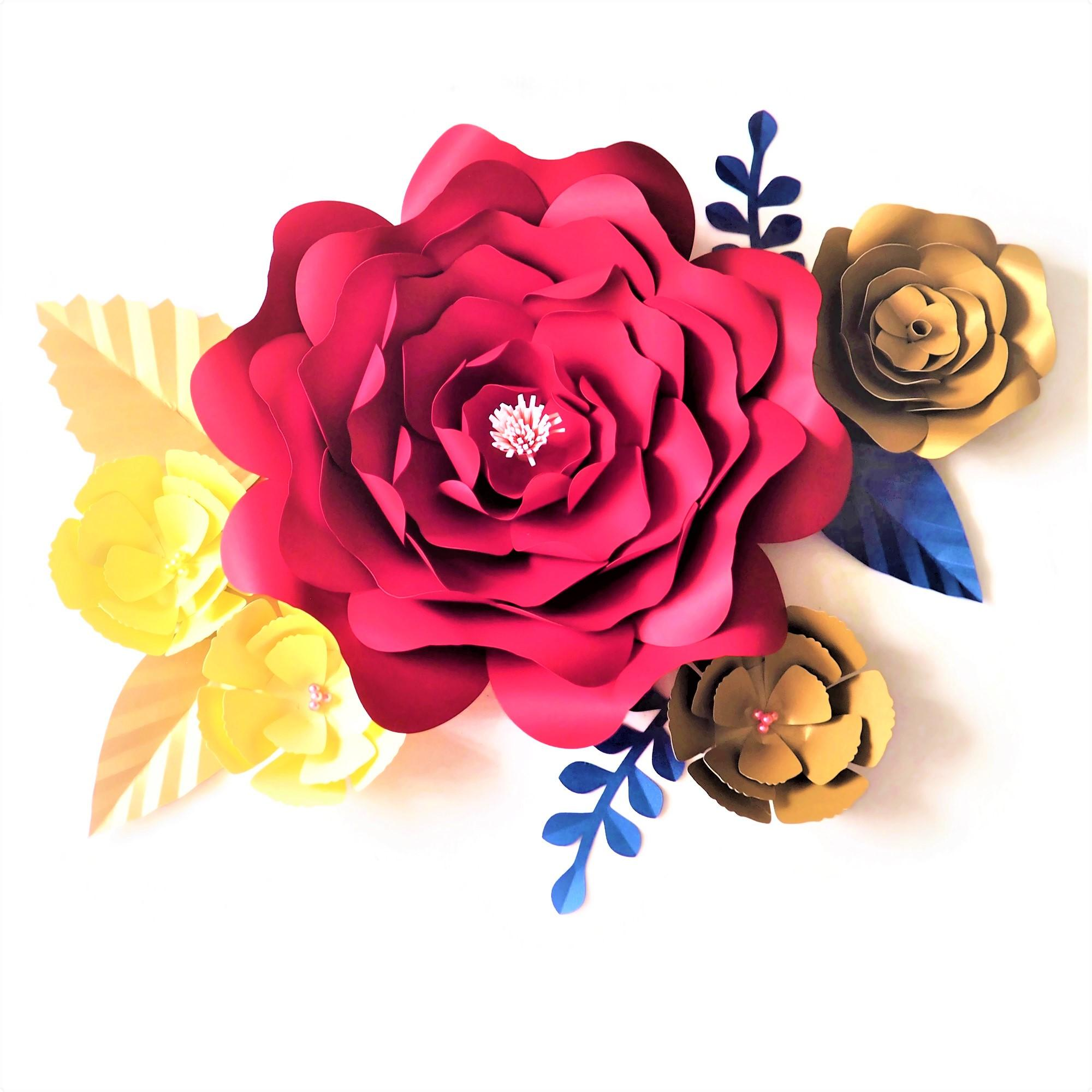 DIY Yapay Çiçekler Fleurs Artificielles Backdrop Dev Kağıt Çiçekler 5adet Kağıt bırak 5adet Düğün Dekor Bebek