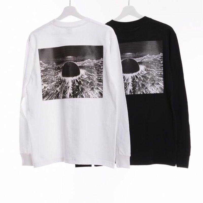 Camisetas 20FW hombre Blanco Negro Streetwear Manga larga Top Hip Hop calientes camisas de los hombres de gran tamaño monopatín camisetas