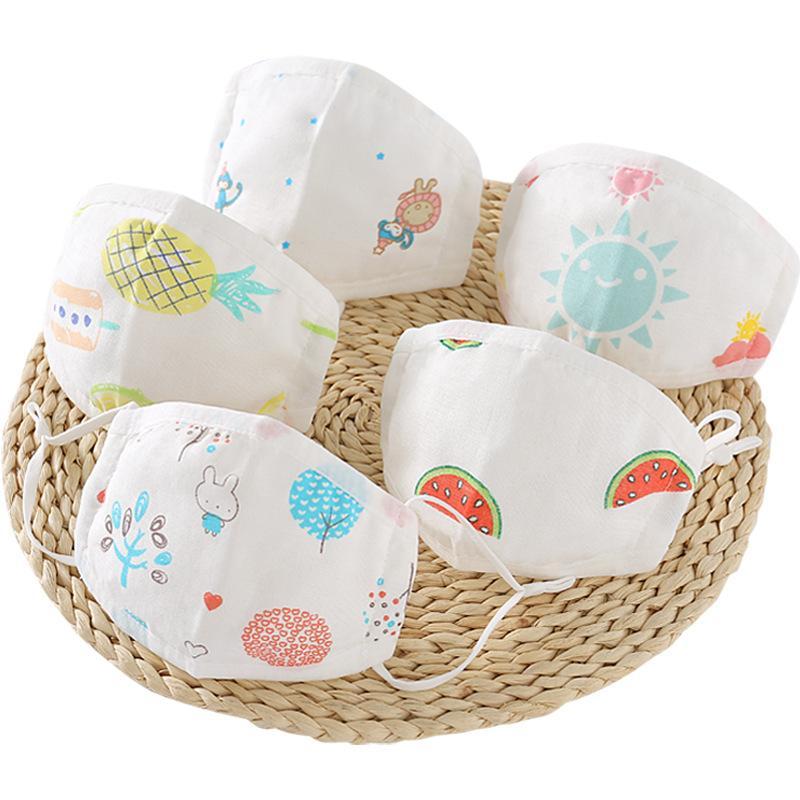 Children's gauze masks baby nursery cotton cloth knitted printing cartoon dustproof summer thin washable cotton