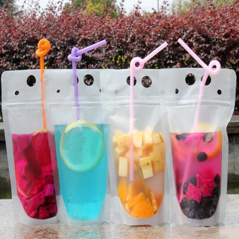 100pcs Klar Getränk Pouches Taschen bereift Zipper Stand-up-Plastiktasche Trinken mit Stroh mit Halter Reclosable Hitze Proof 500ml DHL-freiem shi