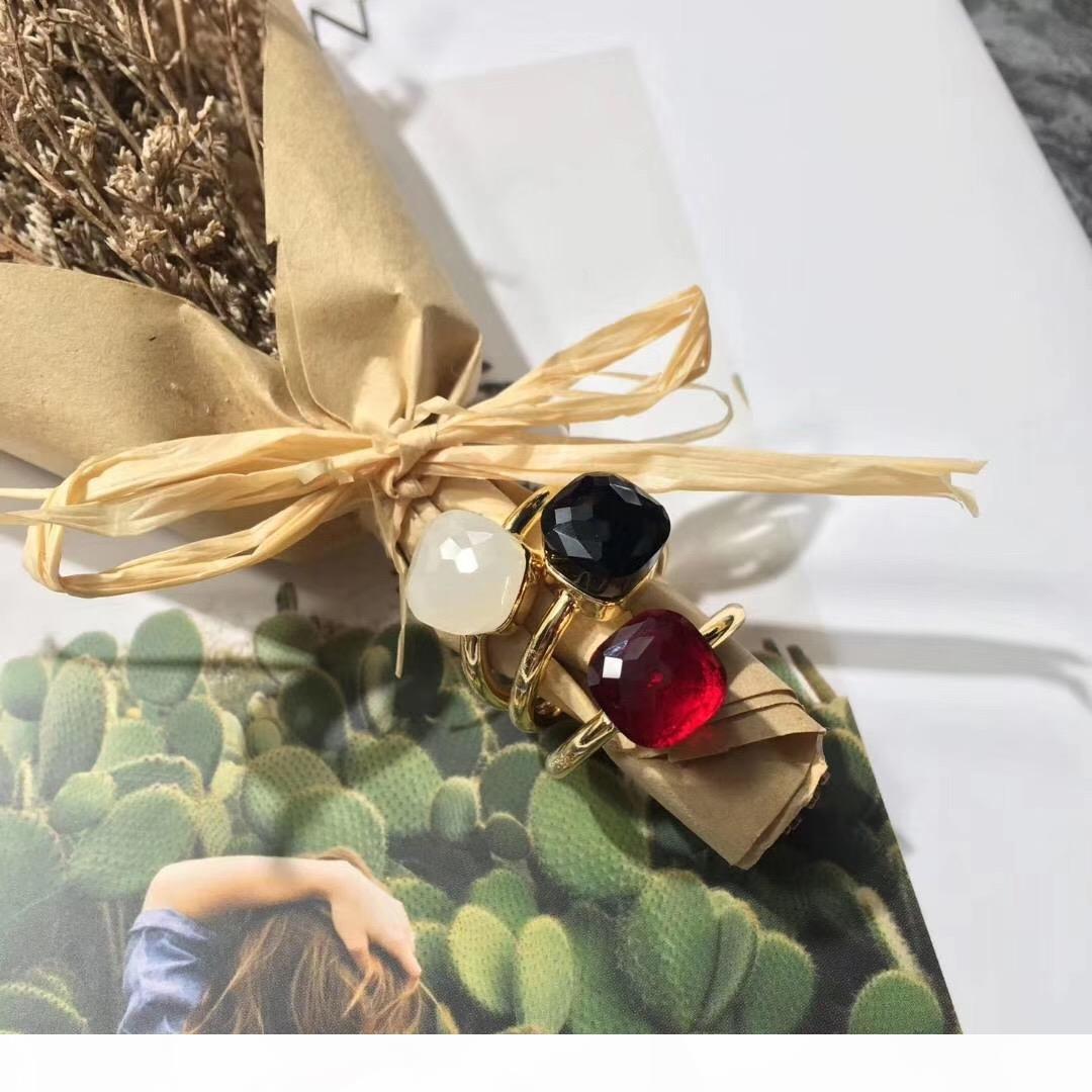 anillo de plata pura 2020 de calidad de lujo S925 con la piedra cristalina caramelos de colores para las mujeres de la boda anillo de la joyería PS5516