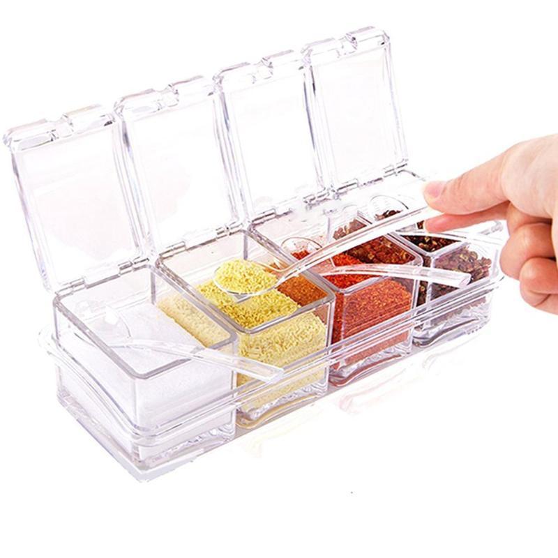 Herramientas de especias Ollas Condimento Condimento acrílico caja del condimento jarras de almacenamiento Caja Practuical Vinagrera de cocina