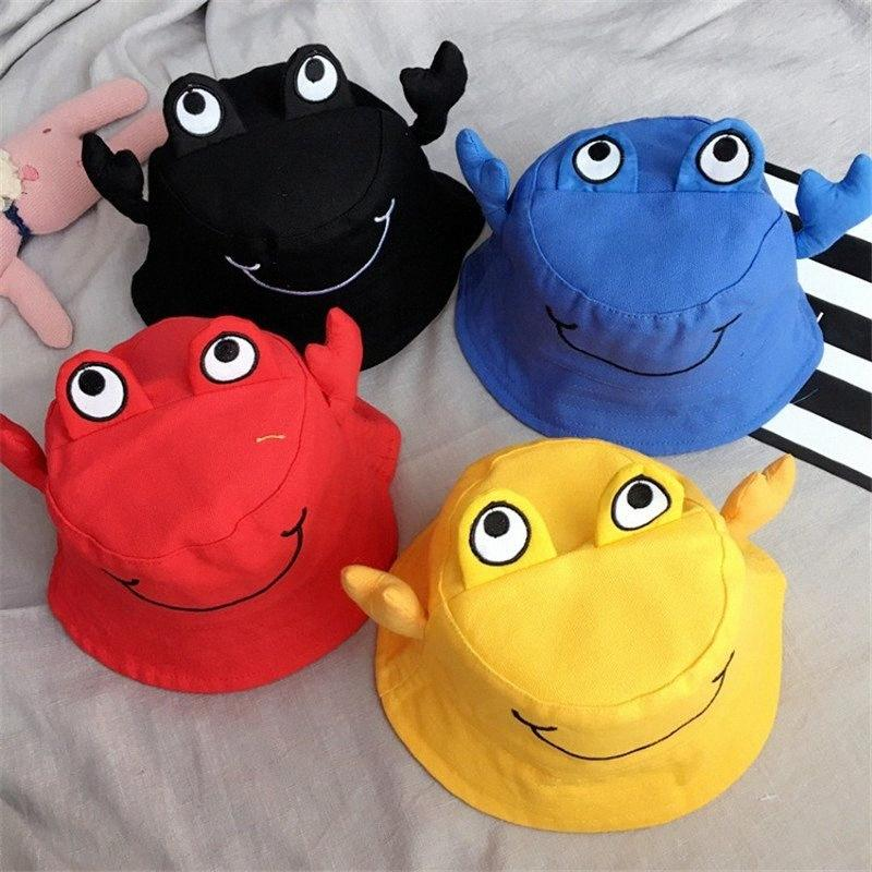 Korea Handmade Solid Cotton Cartoon Crab Bucket Hats Caps Fall Winter for Children Girls Kids Apparel Accessories-SWKHFW001C5 zUvn#