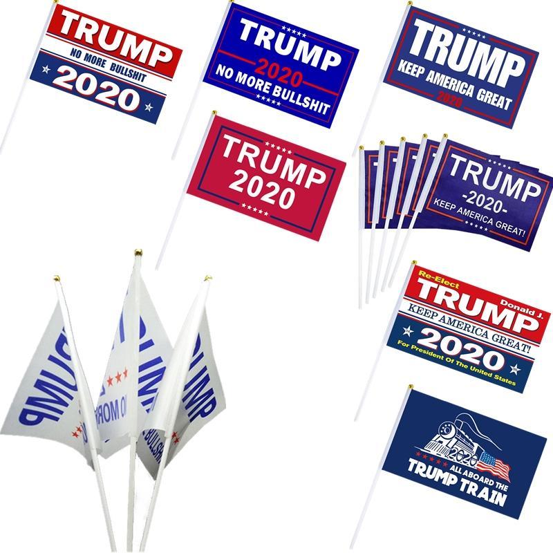 DHL libero 8 stili Trump a mano bandiera 14 * 21 cm Donald Trump 2020 Volare Stati Uniti d'America bandiera a mano Presidential Election Banner Bandiere