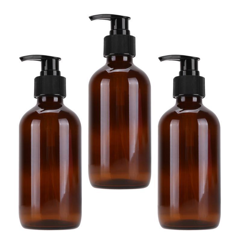 3шт Glass Sub бутылки хранения пустых бутылок Простые Держатели Cosmetics Эмульсия для хранения Трэвел (250мл Brown)