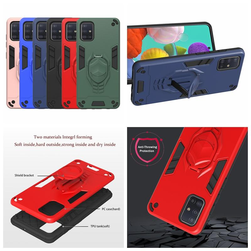 Holder Case For Galaxy S20 Ultra Plus A91 A81 A71 A51 A31 A21S Finger Ring Hard PC Hybrid Shockproof Armor TPU Stand Layer Defender Covers