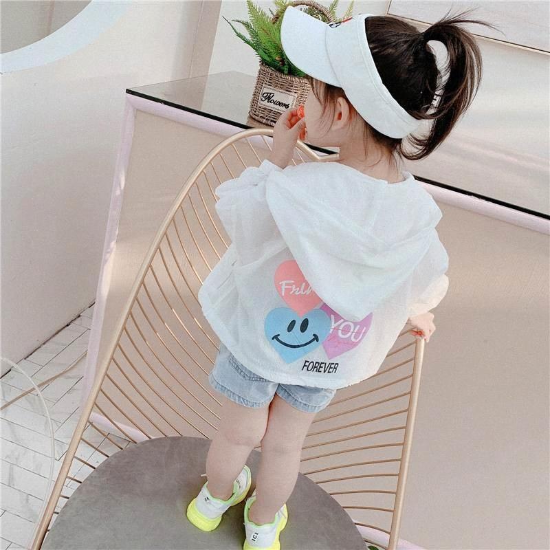 2020 новых мальчиков и девочек Солнцезащитный пальто Love Heart с длинным рукавом Тонкий Шинель Белый Желтый Kid куртка YF003 07u3 #