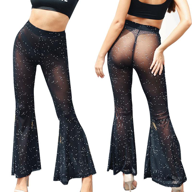 Women Mesh Leggings Sexy Perspective Trousers Ladies High Waist Flared Pants Fashion Female Loose Trousers Nightclub Clothes 050727