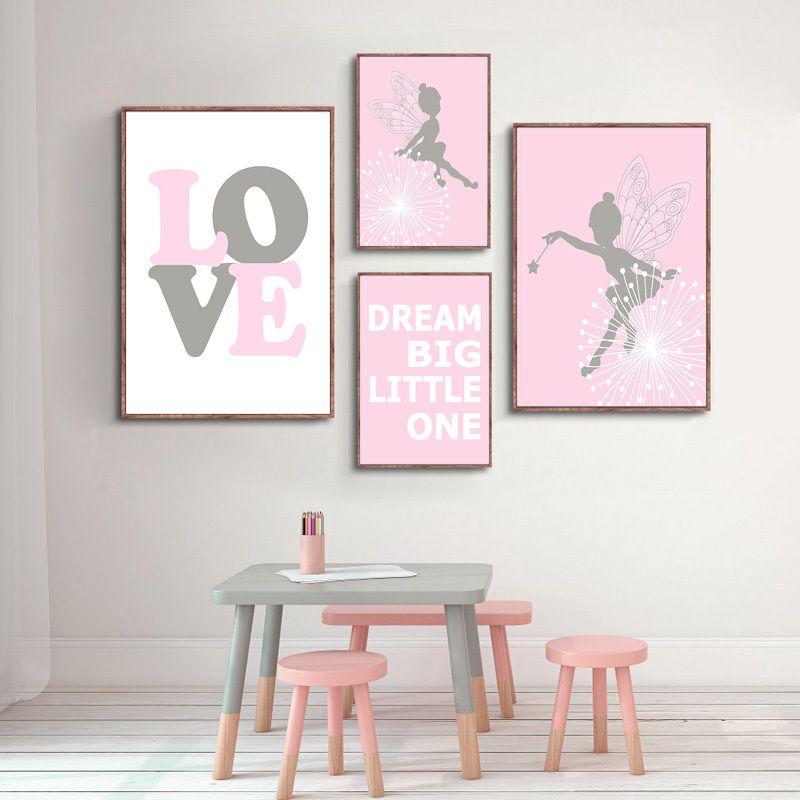 Kawaii Cartoon Pink Pairy Wall Art Canvas Nursery Dream Big Love Poster Print Painting Nordic Baby Girl for Living Room Decor