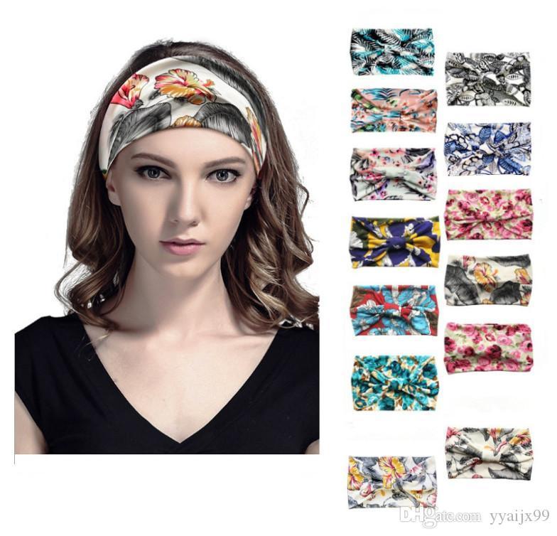 Fleur Femmes élastique absorber la sueur Boho cheveux tête Wraps Accessoires de mode Pas Slip yoga sportif large Hairband Bandeaux