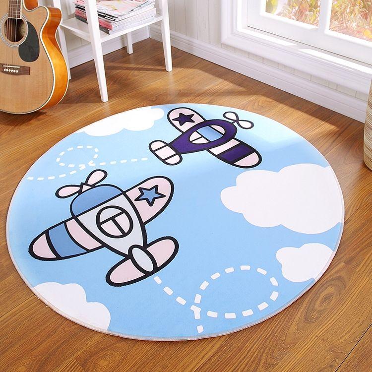 Dormitorio de la historieta de la alfombra alfombra de la tabla de té de los niños redonda impresa hogar alfombra mesa de té lavables alfombra del piso
