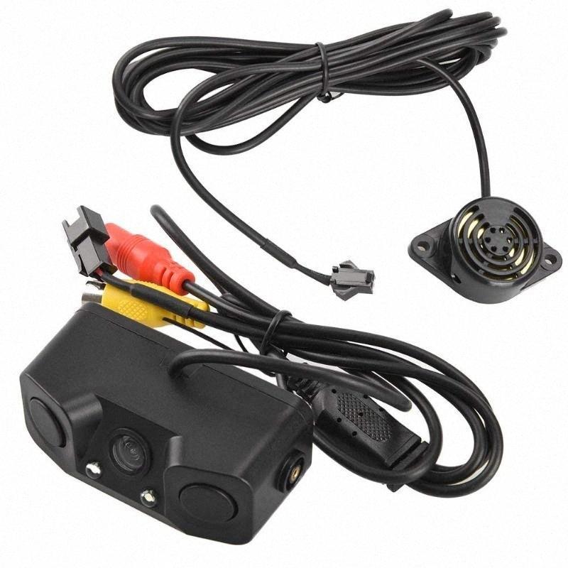3 in 1 Auto-Parken-Sensoren mit Backup-hinterer Kamera Nein Drill keine Schäden an Auto LED-Licht-Sensor-Detektor-Summer-Warnung Park f6Aq #
