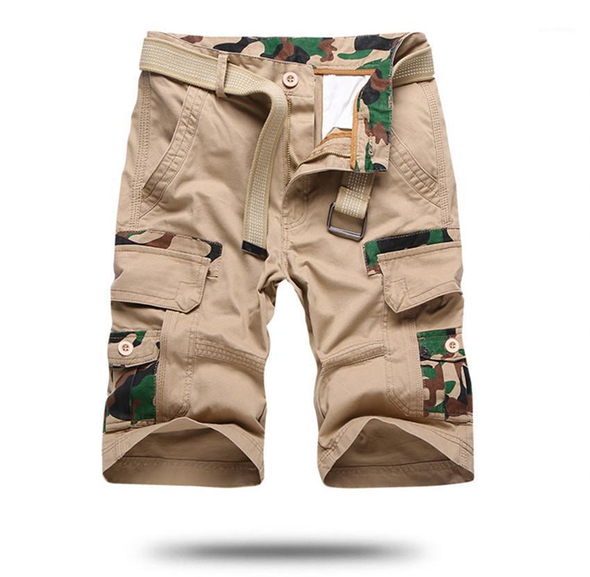 Man Tarnung beiläufige kurze Hosen Knielänge mittlere Taille Homme Shorts Mode lose Männerkleidung Cargo-Shorts für