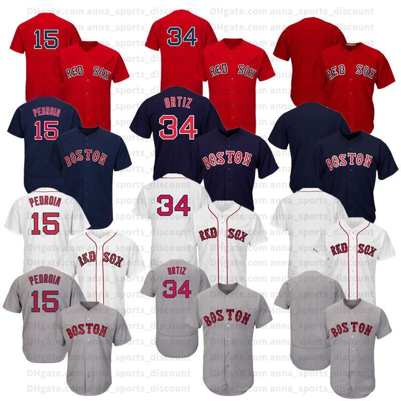 2020 neue Baseballuniform Red Sox 15 34 leere Stickerei Version Jersey Serie bequem und locker atmungsaktiv T-Shirt