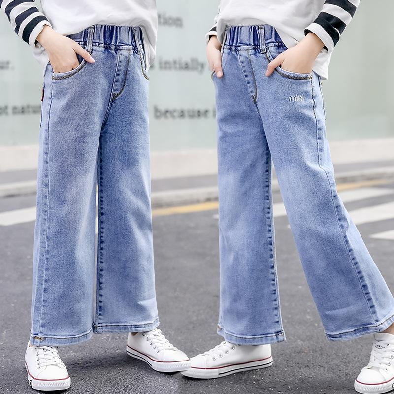 Корейская осенних джинсы Широких ног Crawler большой детские расшитые широкие брюки ноги детских брюки 2020 девочек джинсов