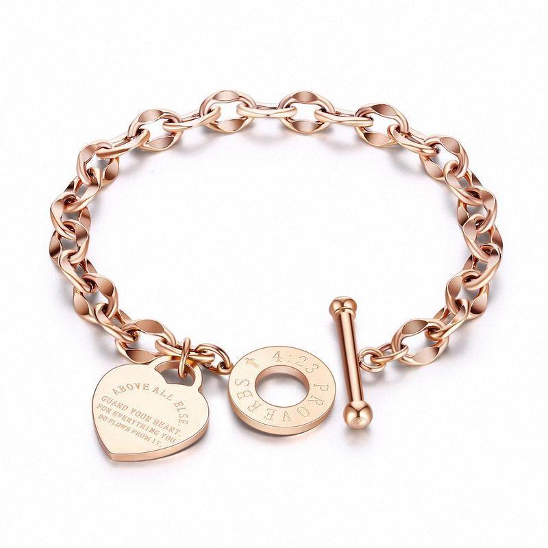 Titanstahlkettenarmbänder für Frauen Rose Gold Heart Letter Armbänder Frauen Accessoires Armbänder Marke Schmuck Silber Bracele 8g1H #