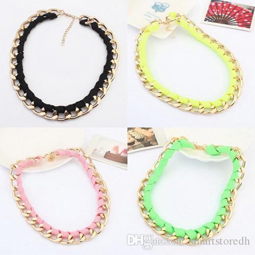 Art und Weise 1pc Goldkette Neon Baumwolseil Halskette Weinlese-Frauen-Anhänger Schmuck C00141 SMAD
