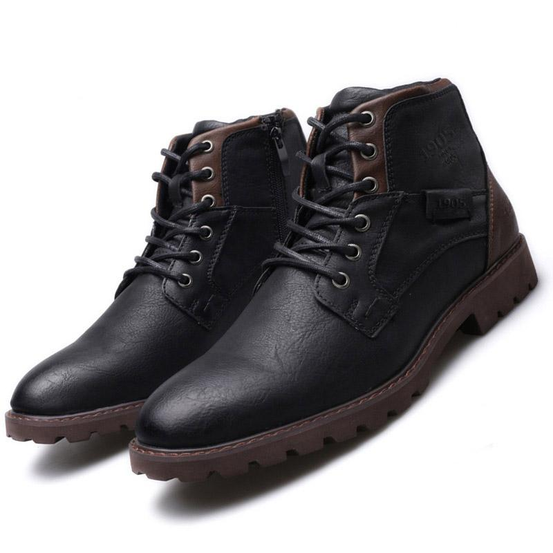 Men Winter Boots Man Genuine Leather Ankle Snow Boot Plush Keep Warm Footwear Trendy Waterproof Casual Shoes