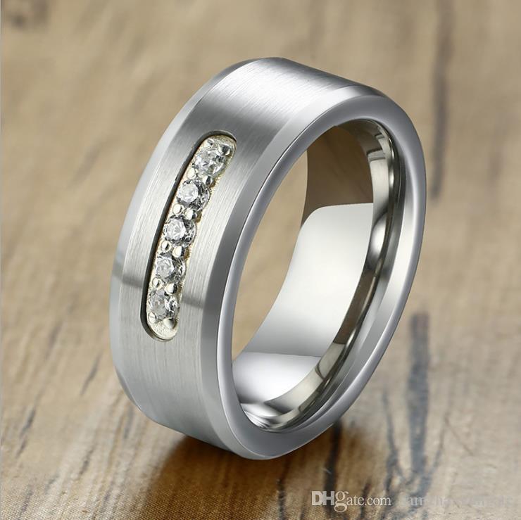 I185 Valentinstag Geschenke-Männer Wolframcarbid-Ringe Ringe Zirkonia Ringe Wolfram CZ Schmuck Wolfram Schmuck Fabrik 084