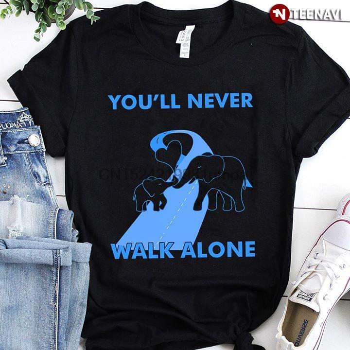 Hommes T-shirt Vous ne marcheras jamais seul T-shirts Elephant femmes