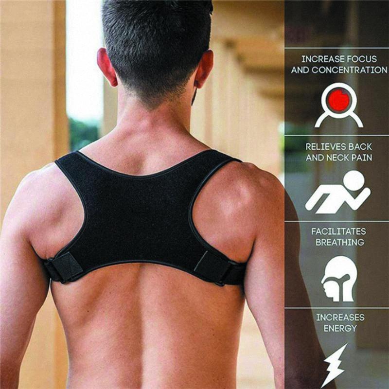 Volver hombro postura corrección de bandas Volver alivio del dolor Corrector ayuda del apoyo de la columna vertebral Postura Protección Corrector mujeres hombres K6mA #